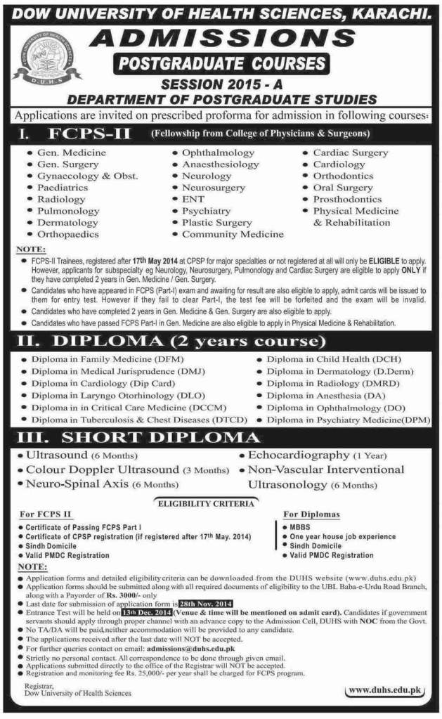 Dow-University-Postgraduate-Courses-Session-2015-A-FCPS-II-Fellowship-From-CPSP-Diploma-Short-Diploma